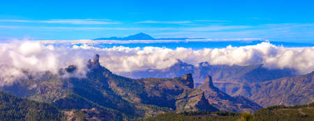 Grand Canary island. Mirador Roque Nublo . Breathtaking  mountains over sunset and view of Tenerife .