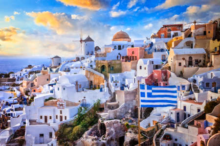One of the iconic symbols of Greece - Santorini island. Artwork in painting style Stock fotó