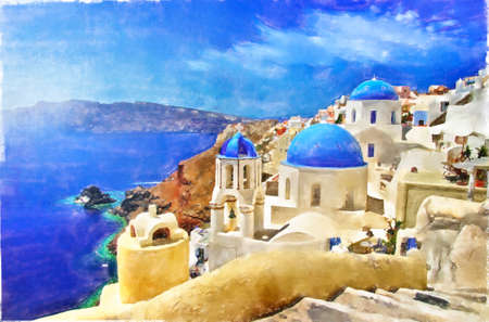 iconic Santorini island. Blue domes of Oia. Greece symbol. Artwork in painting style