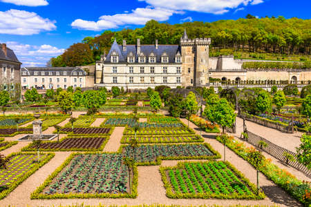Most beautiful castles of Europe - chateau Villandry with splendid botanical gardens . Loire valley, France Sajtókép