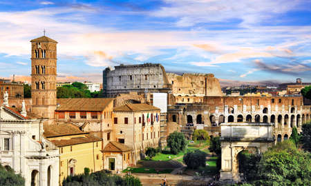 Roman Imperieal Forum and Colosseum. Landmarks of Italy Stock fotó