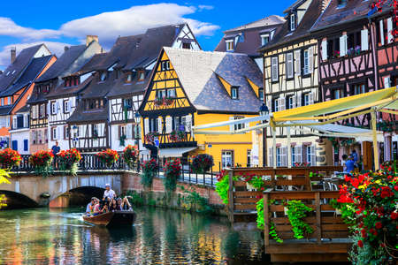 France travel. Most beautiful and colourful towns. Colmar in Alsace region. Tourist sightseeing boat. September 2016