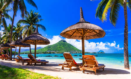 Relaxing holidays in tropical paradise. Mauritius island. Flic en Flac beach