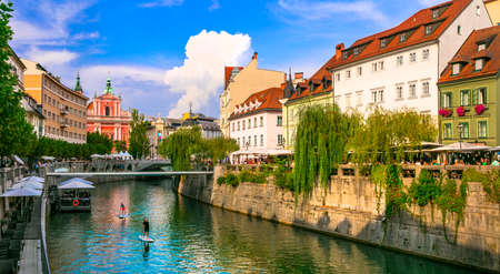 Romantic beautiful Ljubljana city, capital of Slovenia. Downtown view with canals and caffe. Settembre 2019 Sajtókép