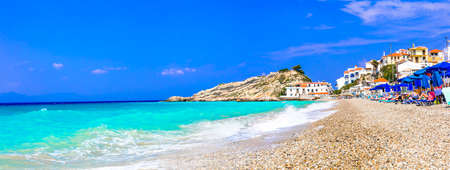 Greece travel. Most beautiful village and beaches of Samos island - Kokkari. Popular tourist destination