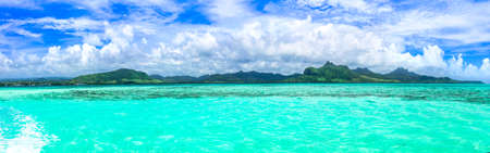 Stunning tropical scenery. Famous Blue Bay with transparent turquoise sea, popular diving spot om Mauritius island Zdjęcie Seryjne