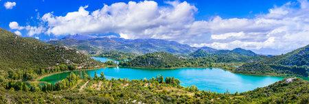 Nature scenery, beautiful landscape of turquoise Bacina lake in Croatia. Dalmatia region