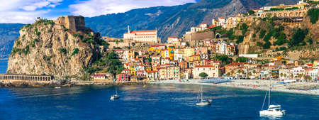 beautiful places and towns of Calabria - medieval Scilla with old castle. Italian summmer holidays