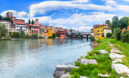 Beautiful medieval towns of Italy -picturesque  Bassano del Grappa,  Vicenza province,  region of Veneto