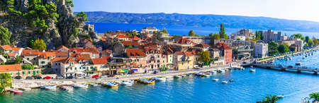 Croatia travel and beautiful places . Omis - coatsal town in Dalmatia. popular tourist destination in Dalmatia. Famous for rafting,canyoning and trekking' activities. set 2019
