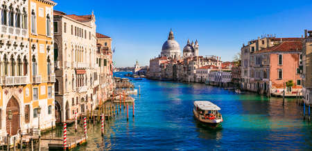Amazing romantic Venice town. View of Grand canal from Academy' bridge. Italy november 2020