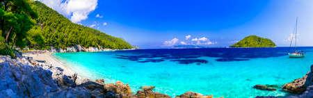 Most beautiful beaches of Greece - Kastani beach . Skopelos island in Sporades Zdjęcie Seryjne
