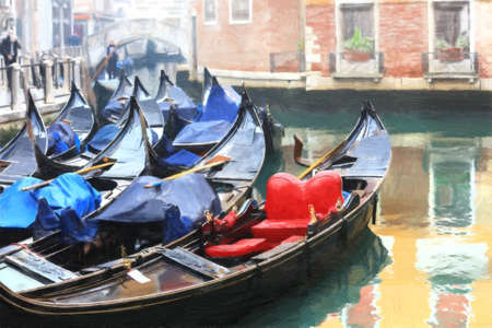 Venice.Italy. Canals and gondolas. Artwork in paiting style