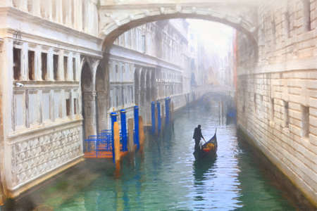 Venice,Italy. famous Bridge of sights and gondola.  watercolor painting style