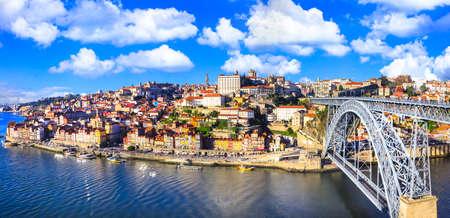 Beautiful Porto town view with the famous bridge of Luis, Portugal Zdjęcie Seryjne