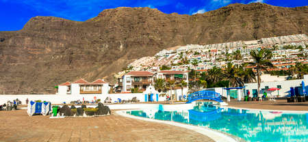 Tenerife island, Los Gigantes, publick swim pool.  Canary islands, jan 2018