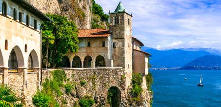 Picturesque monastery Eremo di santa Caterina, beautiful lake Lago Maggiore. Italy, Northern part