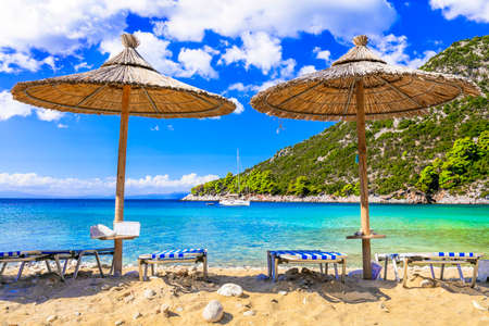 Best beaches of Skopelos island - Limnonari with amazing bay and turquoise sea. Sporades islands of Greece
