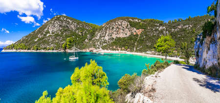 Wonderful nature and beaches of Skopelos island - Limnonari with amazing bay and turquoise sea. Sporades islands, Greece