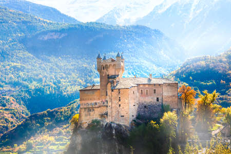 Impressive Alps mountains landscape, beautiful valley of medieval castles - Valle d'Aosta in northern Italy