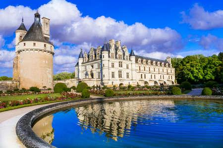 Elegant Chenonceau castle - beautiful castles of Loire valley. France, travel and landmarks Publikacyjne