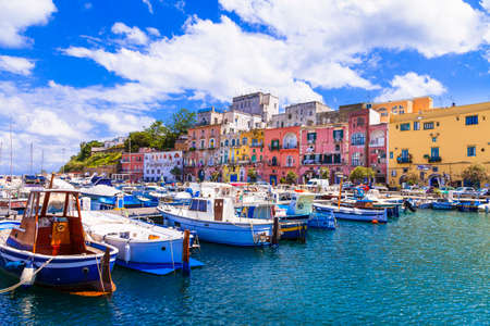 Colorful charming island Procida with traditional wooden fishing boats. Italy May 2013 Editorial