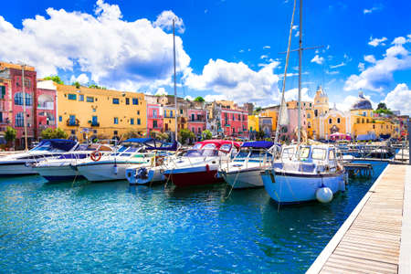 Colorful charming island Procida with traditional wooden fishing boats. Italy May 2013