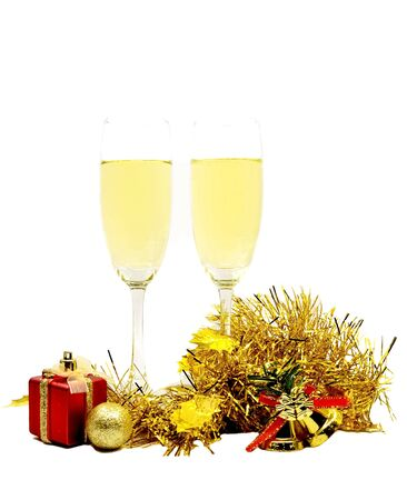 merry chrismas: Merry Christmas isolated with champagne