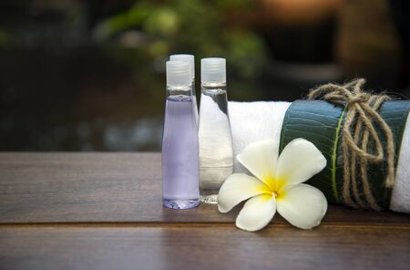 revitalize: Spa massage compress balls, herbal ball on the wooden with treaments spa , Thailand, soft focus