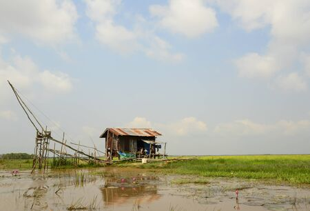 fishermans net: Square dip net and fishermans home at Phattalung, Thailand, Landscape
