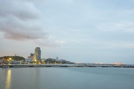 chonburi: City at twilight in Chonburi, Thailand