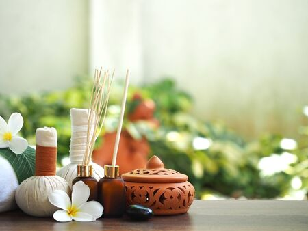 herbal background: Spa massage, treatment and herbal ball, Thailand, select and soft focus