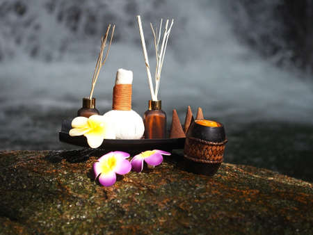 Nature spa treatment and massage, background waterfall, Thailand, soft and select focus