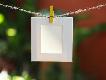 Photo Frames on Rope. background the nature, soft focus Stock Photo
