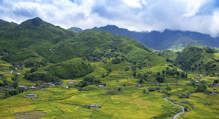 le: beautiful view of house and village in rice terrace at tu le ,mu cang chai , vietnam