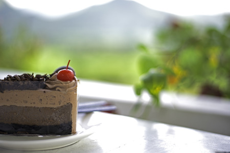 Delicious chocolate cake on plate on table,soft and select focus