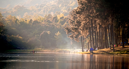pang: Morning in Pang Ung Lake,North of Thailand, is a tourist place where people come to vacation in the winter