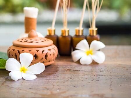 compress: Spa massage compress balls, herbal ball on the wooden with treaments spa , Thailand, select focus