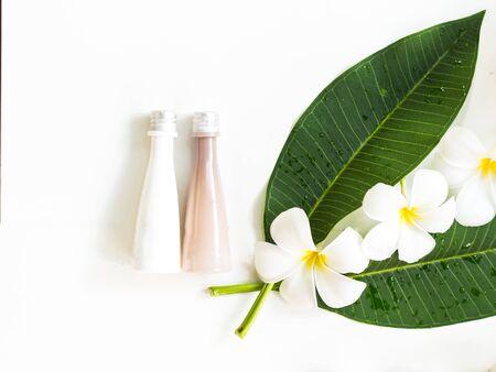 tahitian: Frangipani plumeria Spa Flower on white wooden, soft focus Stock Photo