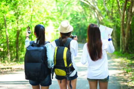 Group of beautiful young women walking in the forest, enjoying vacation, travel concept Banque d'images