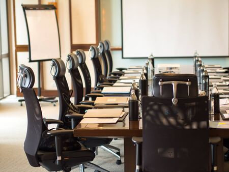 furnishings: The detail shot of a meeting room, soft and select focus Stock Photo