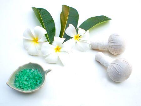 compress: Spa massage compress balls, herbal ball and treatment  spa, Thailand, greenery tone 2017