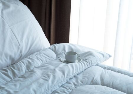 furnishings: Fresh morning coffee on the bed.