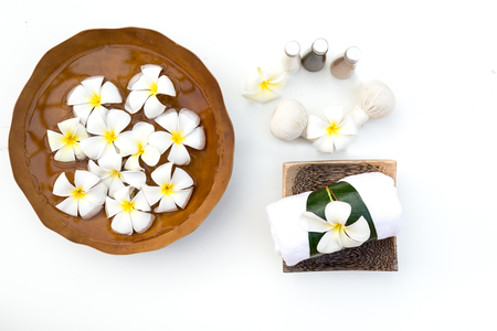 Spa Treatments and massage on wooden white, soft and select focus Foto de archivo