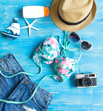 Womens summer beach clothes background