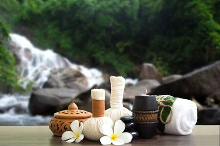 compress: Spa treatment and massage in the waterfall nature, Thailand soft and select focus