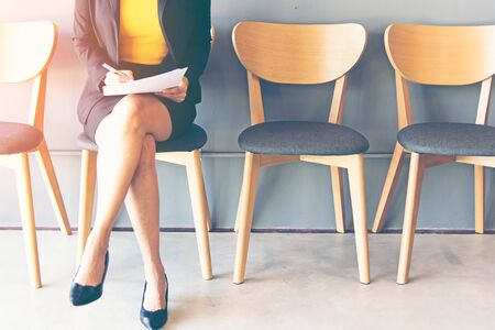 Young woman waiting for job interview Stock Photo