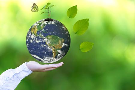 Eine leuchtende Erdkugel in seinen Händen mit Schmetterling halten. Welt Umwelt und Rette Umwelt. Earth-Bild von der Nasa zur Verfügung gestellt.