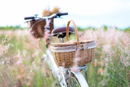 Bicycle retro with basket picnic and guitar of flowers in meadow.  Travel Concept. select and soft focus Foto de archivo