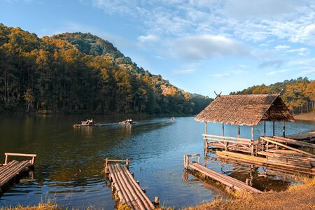 Morning in Pang Ung Lake,North of Thailand, is a tourist place where people come to vacation in the winter, soft and select focus